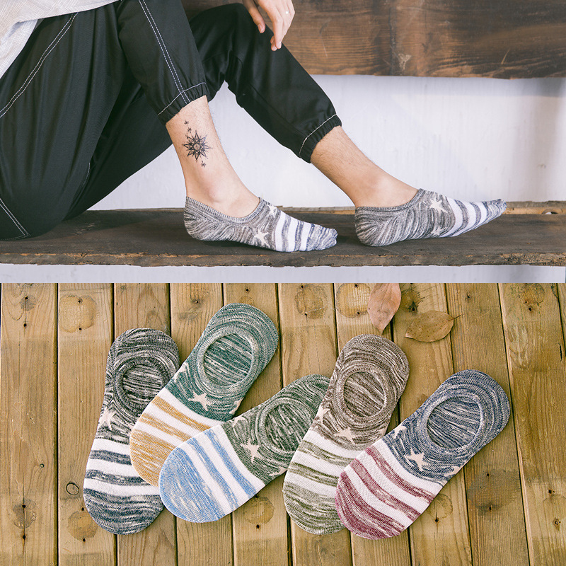 Summer Male Male Silica Gel Invisible Man Stars Cotton SocksLow Low Cut Ankle Sock boy boat casual slippers 1pair=2pcs WS118
