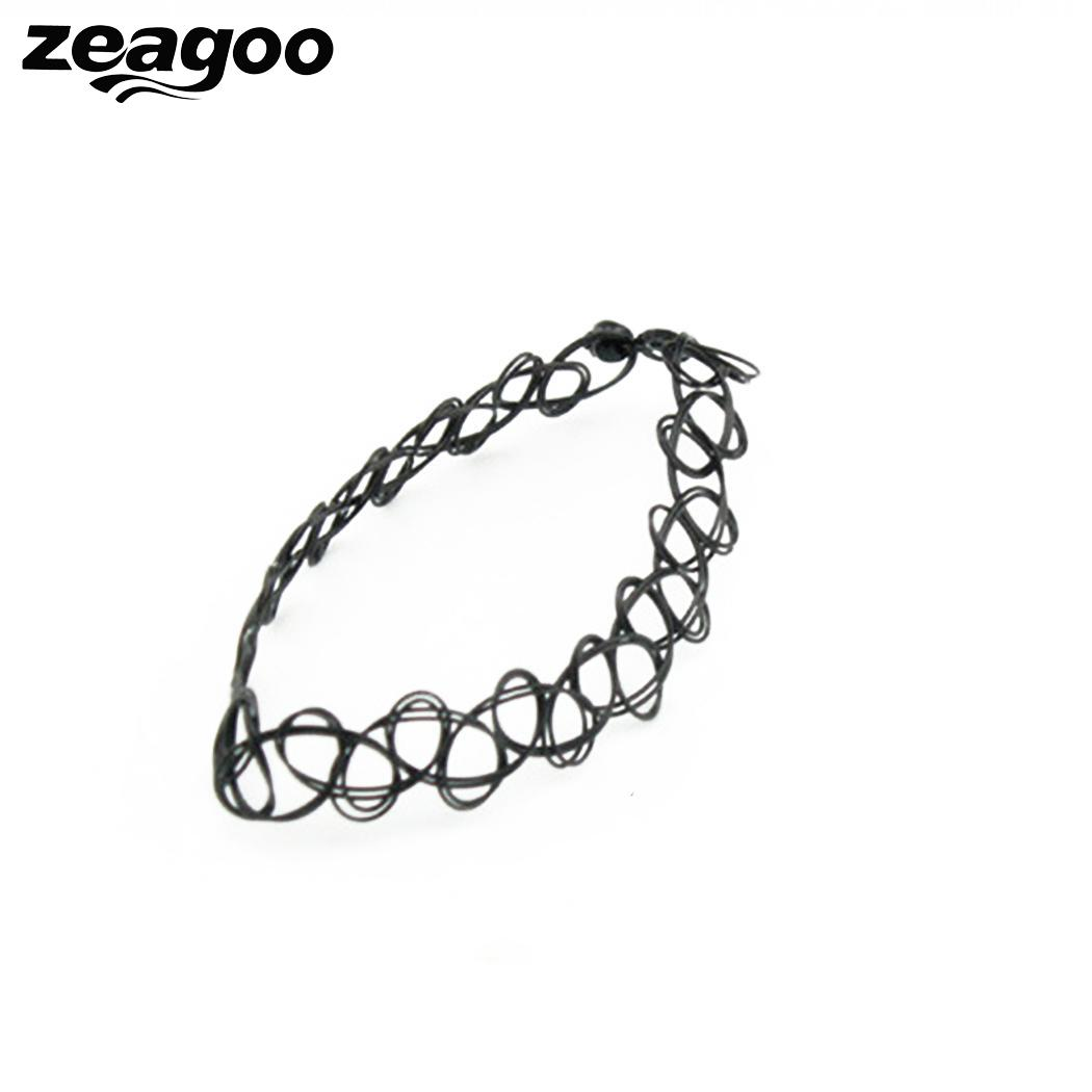 Zeagoo Jewelry Set For Women Black Casual Hollow Out Weaving Korean-Style Fashion Bracelet Necklace Ring Sold By Set 3Pcs/Set