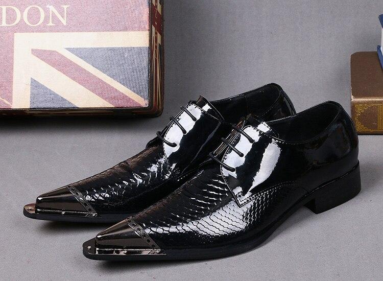 Zobairou 2017 Italian Shoes Men Leather Dress Shoes For Men Metal Pointed Toe patent lea ...