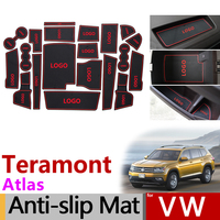 Anti Slip Rubber Gate Slot Mat Cup Mats for VW Teramont Atlas 2017 2018 2019 Volkswagen Internal Accessories Stickers Styling