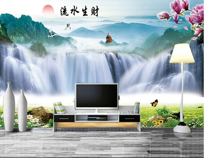 3d room wallpaper custom mural non-woven picture 3 d Mountain Falls tower vessel painting photo 3d wall murals wallpaper 3d wall murals wallpaper for living room walls 3 d photo wallpaper sun water falls home decor picture custom mural painting