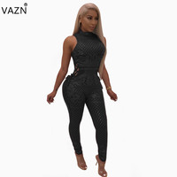 VAZN autumn hot 2018 sexy o neck jumpsuits women solid sleeveless skinny jumpsuits ladies hollow out diamond jumpsuits ME2603