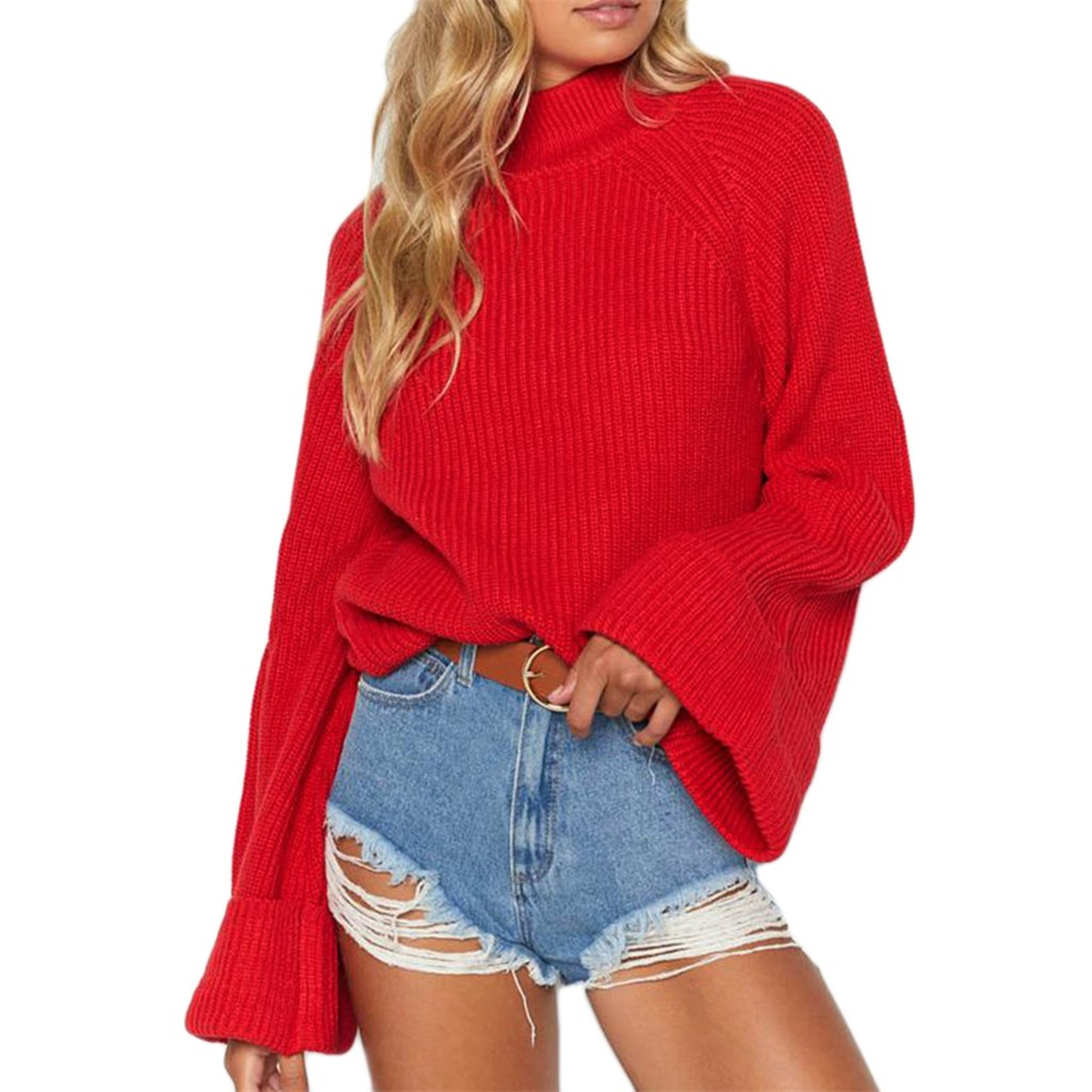 Autumn Winter Turtleneck Sweater Pullover Plus Size Women Knitted Solid Bell Sleeve Solid O-Neck Sweater Blouse Casual Sweater