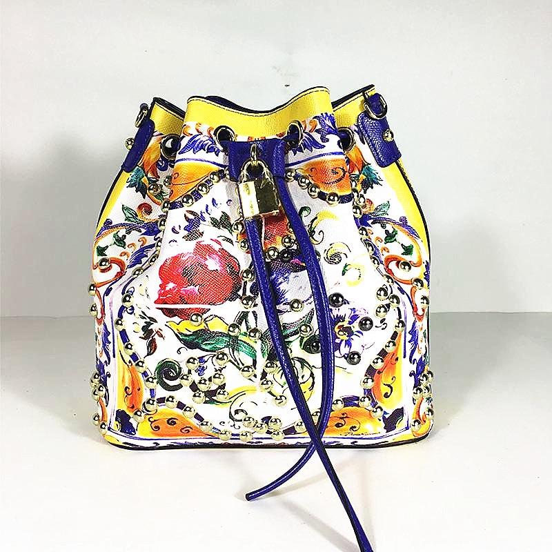 Marque de luxe sicile Style ethnique Sac seau véritable vache en cuir sacs à bandoulière femmes célèbre Designer fleurs imprimé sacs Sac