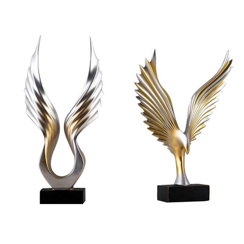 Moderne aile forme abstraite résine artisanat décoration de la maison salon bureau étude de table Figurine ornement cadeau d'affaires