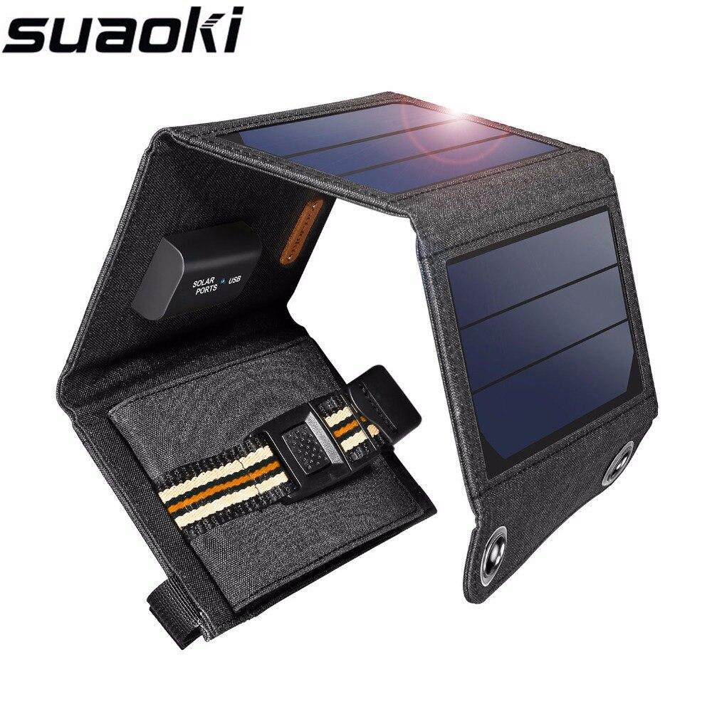 Suaoki 7 w painel solar 5 v saída usb portátil dobrável power bank carregador solar para smartphone