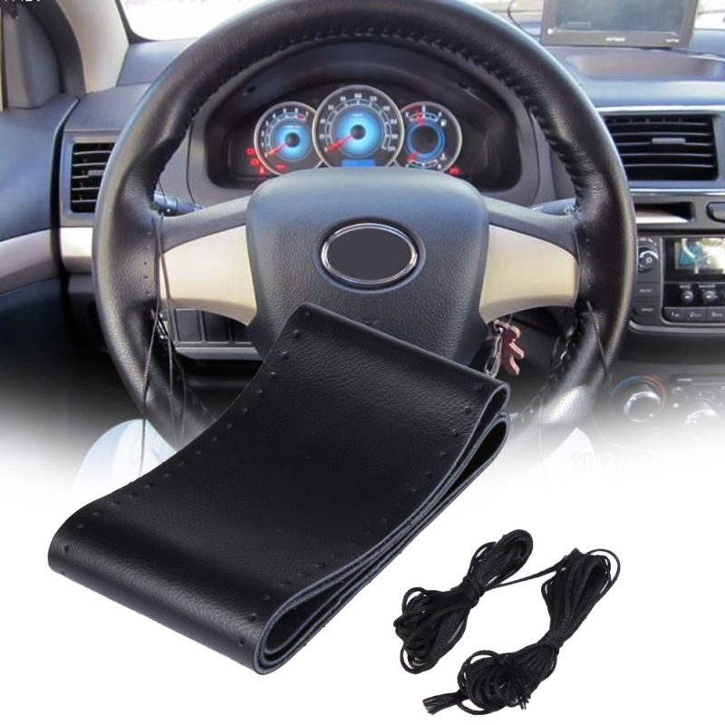 universal auto car steering wheel cover diy genuine leather cowhide braid with needles thread. Black Bedroom Furniture Sets. Home Design Ideas