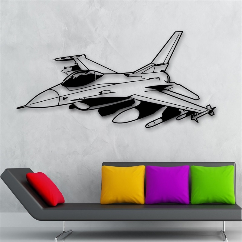 Wall Sticker Vinyl Decal Fighter Plane Jet Aircraft Military War Nursery