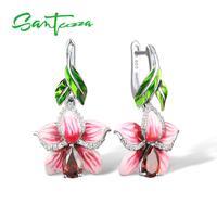 925 Sterling Silver Pear Garnet Cubic Zirconia CZ Pink Enamel Flower Earrings HANDMADE