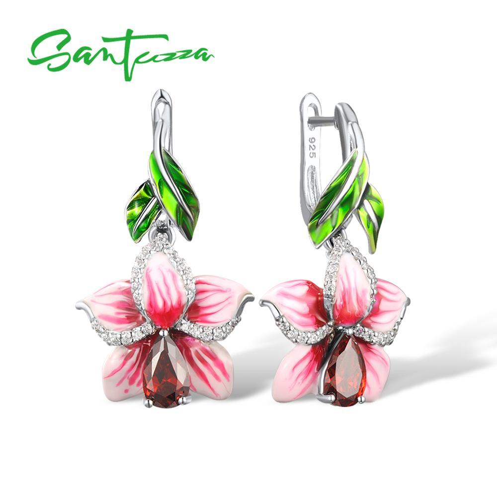 SANTUZZA Silver Earrings For Women 925 Sterling Silver Dangle Earrings Long Silver 925 Cubic Zirconia brincos Jewelry Enamel fancy blue cubic zirconia 925 sterling silver drop dangle earrings for women s0209