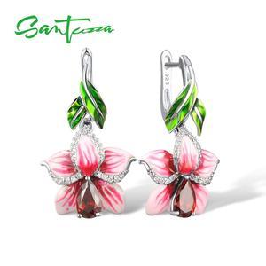 Image 1 - SANTUZZA Silver Earrings For Women 925 Sterling Silver Dangle Earrings Long Silver 925 Cubic Zirconia brincos Jewelry Enamel