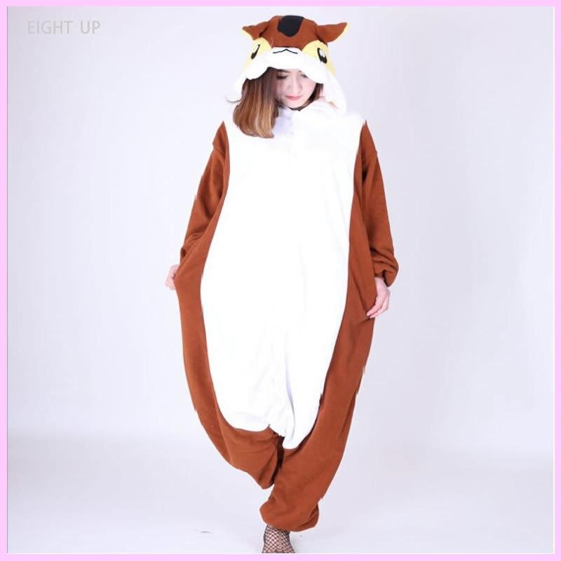Unisex Brown and orange tail squirrels Kigurumi jumpsuit Halloween Carnival Party Christmas Onesies Pyjamas Pajamas Cosplay