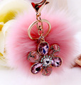 New Rabbit Fur Ball Cell Phone Car Keychain Pendant Handbag Charm keychain Flower Peach