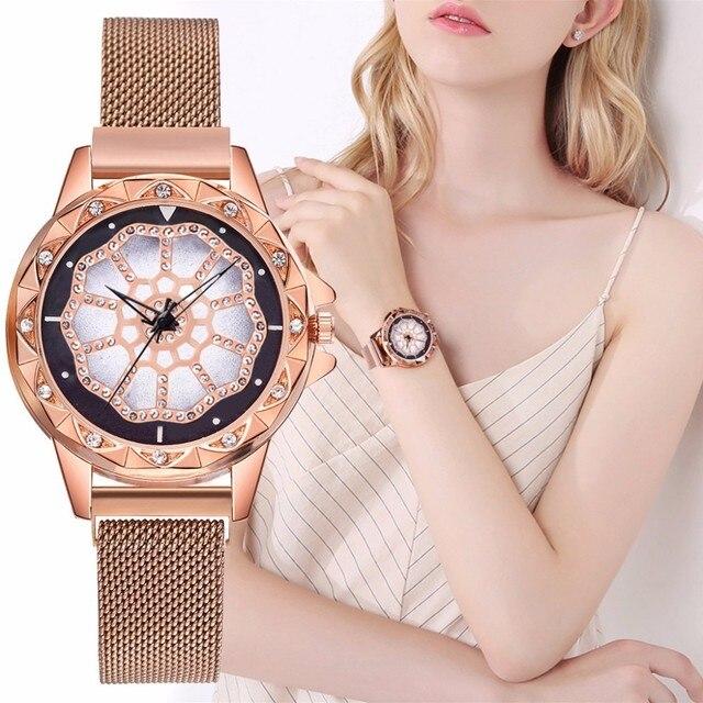 נשים רשת מגנט אבזם מזל פרח שעון יוקרה גבירותיי ריינסטון קוורץ שעון Relogio Feminino עבור Droppshipping שעון