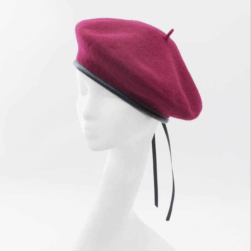 2018 новая стильная Весенняя шерстяная винтажная шерстяная зимняя Женская беретка кожаная французская художественная шапка в повседневном стиле шляпа художника