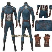 Мстители 3 бесконечные войны Капитан Америка Косплей Костюм Супергероя комбинезоны перчатки Хэллоуин наряд спандекс 4D печатных один кусок