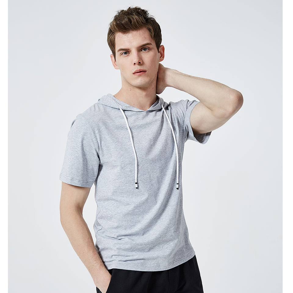 Men T-shirt Large Size Solid Color Hooded Causal Style 4 Colors Dropshipping