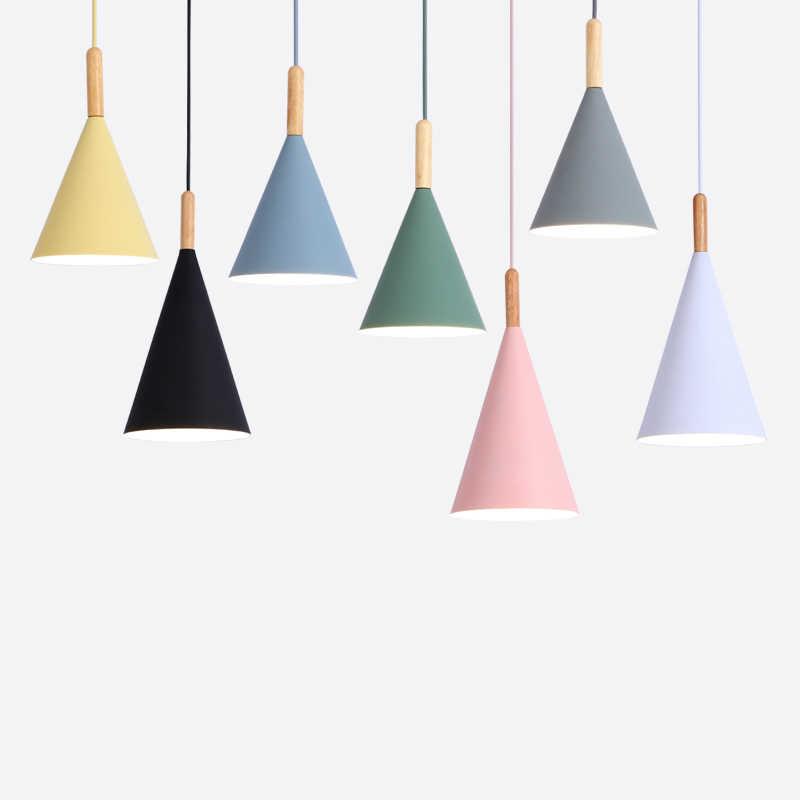 Modern tavanda asılı lambaları E27 ahşap alüminyum kolye ışıkları, ev dekor aydınlatma lambası ve Bar vitrin spot ışık