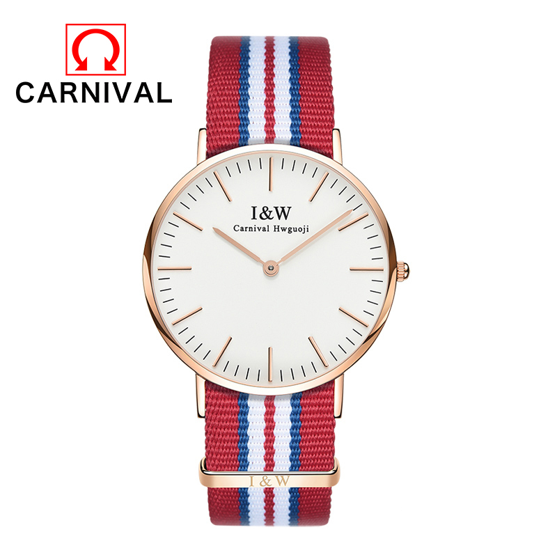 2016 Carnival Women Watch Top Brand Waterproof Stainless Steel Date Quartz Wristwatches Blue And Red Nylon Cloth Strap Watches 2016 brand 40l waterproof nylon women