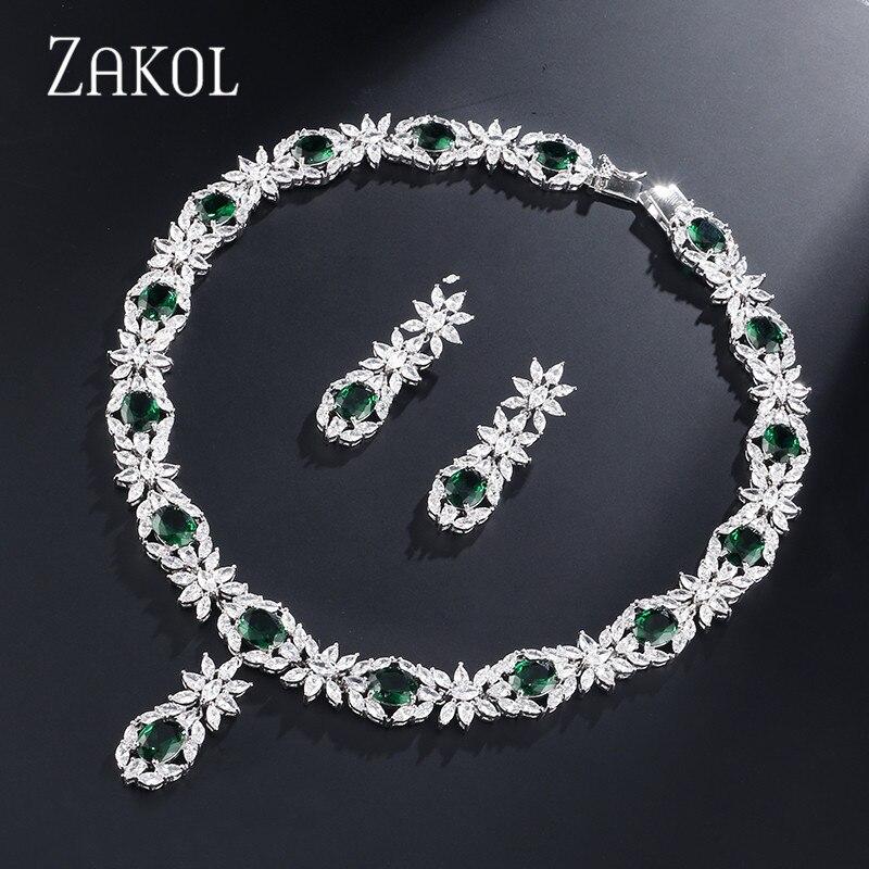 ZAKOL Trendy Style White Color Green Zirconia Bride Wedding Jewelry Set Flower Earrings Necklace Set For