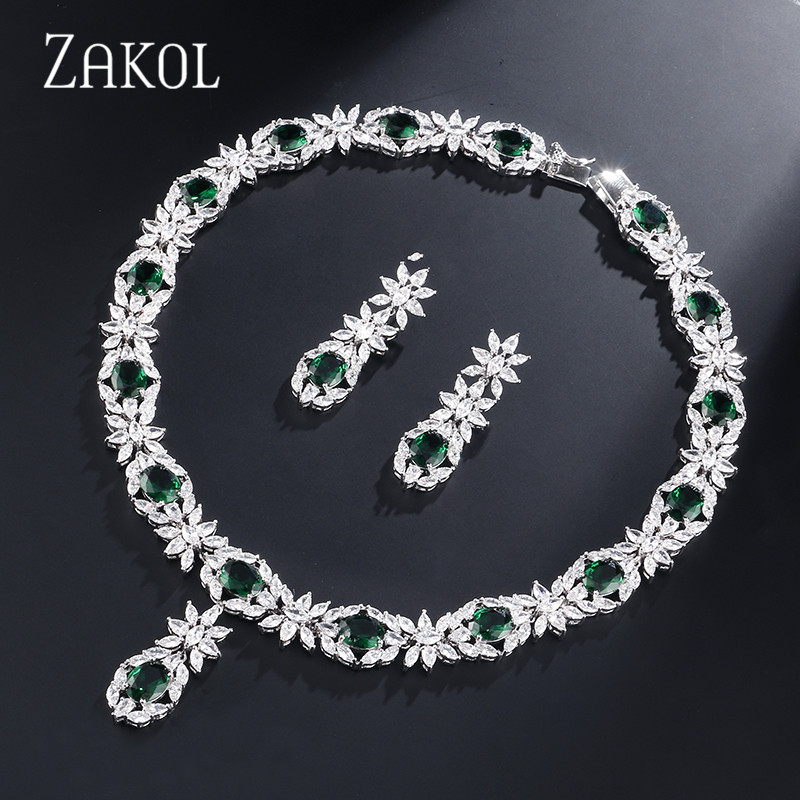 цена ZAKOL Trendy Style Sliver Color Green Zirconia Bride Wedding Jewelry Set Flower Earrings Necklace Set For Europe Women FSSP2007 в интернет-магазинах