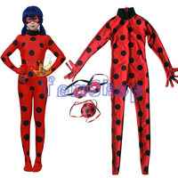 Kids Girls Miraculous Ladybug Cosplay Costume Rompers Mask Bag Women S Jumpsuit Tight Fancy Dress
