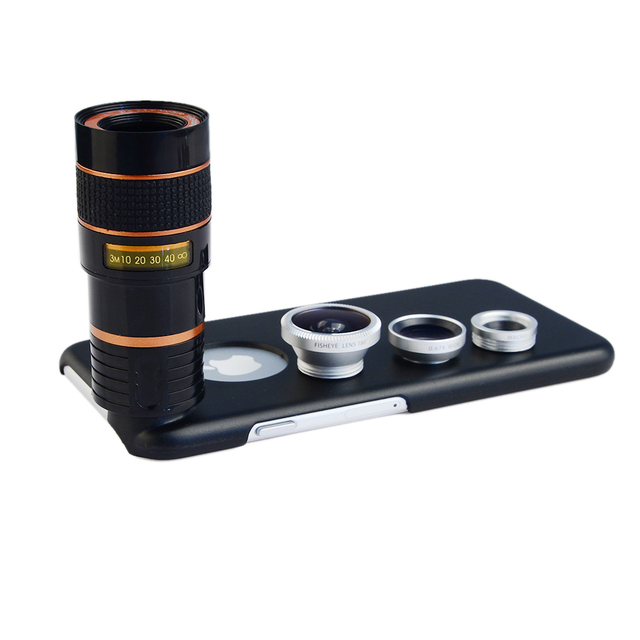 8X Telephoto Zoom Lens + Fisheye Fish Eye+ Wide Angle+ Macro Camera Lens Kit with case for apple iphone 6/6S Mobile Phone Lenses 5