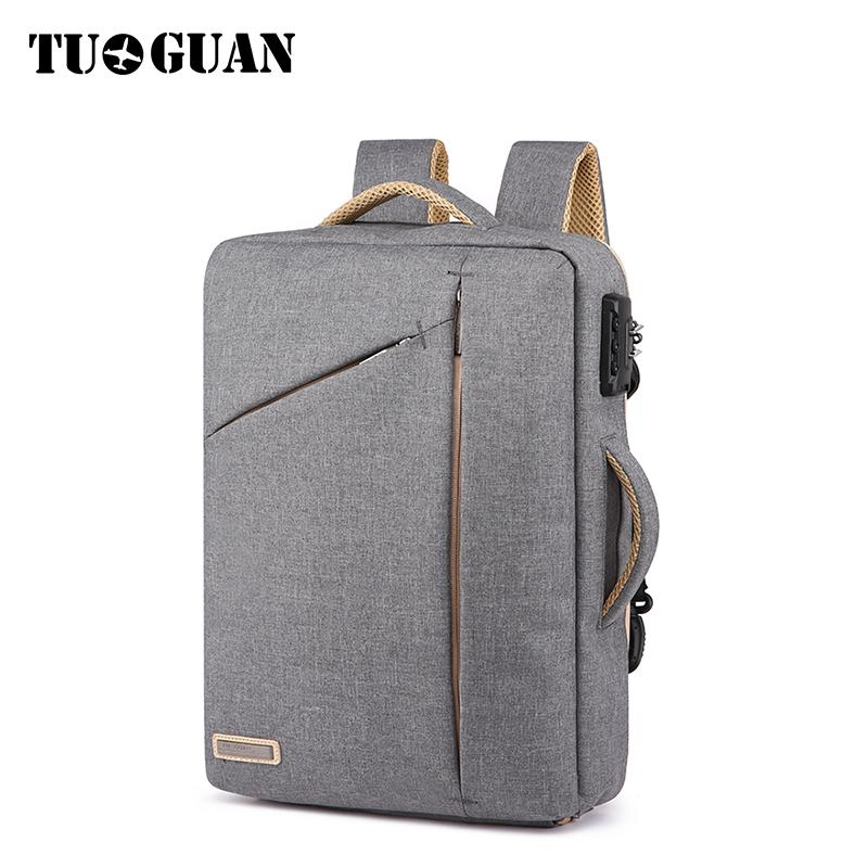 TUGUAN Men Anti Theft BackPack Password Lock Secure Laptop Back Pack Fashion Canvas School Bag Male Business Tote Bags Mochila canvas men s backpack bag teenagers laptop notebook mochila for men waterproof back pack school backpack bag casual daypack
