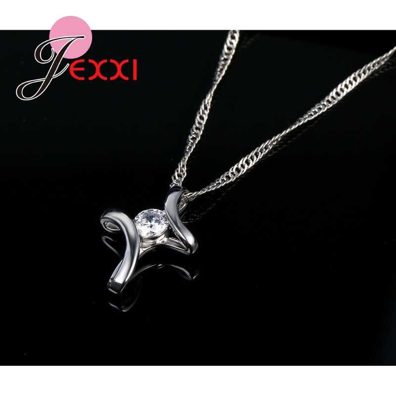Duża promocja klasyczny elegancki styl CZ kryształ uderzające biżuteria 925 srebro naszyjnik dla urocze kobiety
