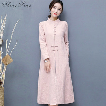 Vintage traditional Chinese women long dress oriental Chinese linen full sleeve loose large size women dresses CC404