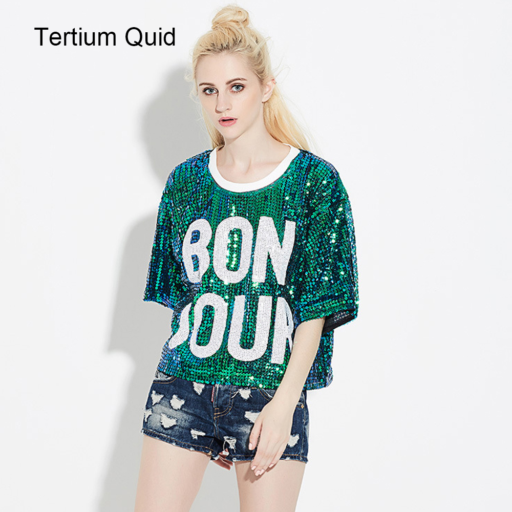 d894f7e266 US $15.6 35% OFF|Loose Tunic Tops For Women Sequin Top Fashion T Shirt  Woman Harajuku Shirt Short Sleeve Tee Shirt Hip Hop Jazze Sequined Tops-in  ...