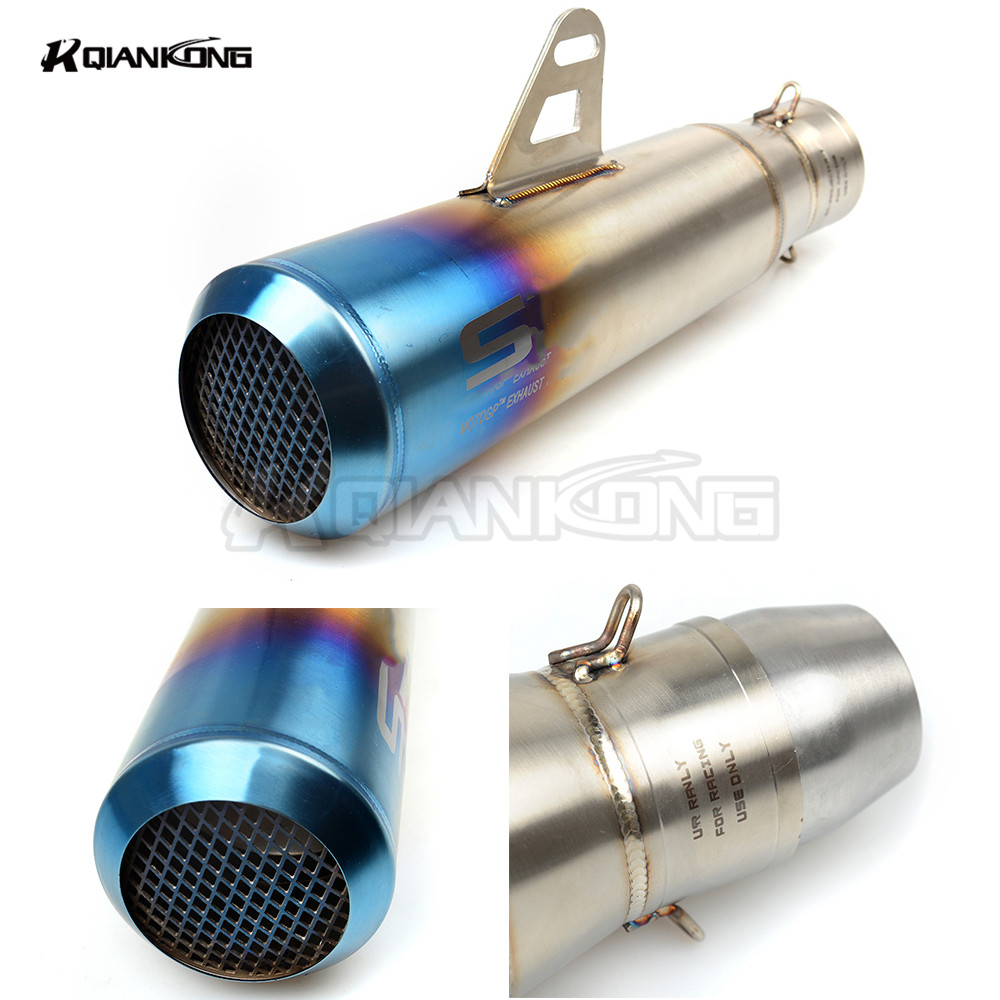 Motorcycle Exhaust Pipe Muffler Inlet 51mm 61mm SC GP Escape Exhaust Mufflers Carbon Fiber Exhaust Pipe With Sticker Laser Logo free shipping carbon fiber id 61mm motorcycle exhaust pipe with laser marking exhaust for large displacement motorcycle muffler