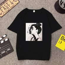 Women Girls Summer Oversized Loose Pullover Tops Hip Hop Lady Portraits Printed Ulzzang Half Sleeve T-Shirt Round Neckline Blous