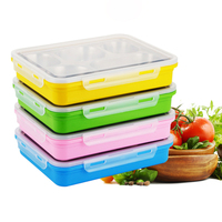 4 Color A Rectangular Bento Box Food Storage Thermal Lunch Boxs Stainless Steel Japanese Portable