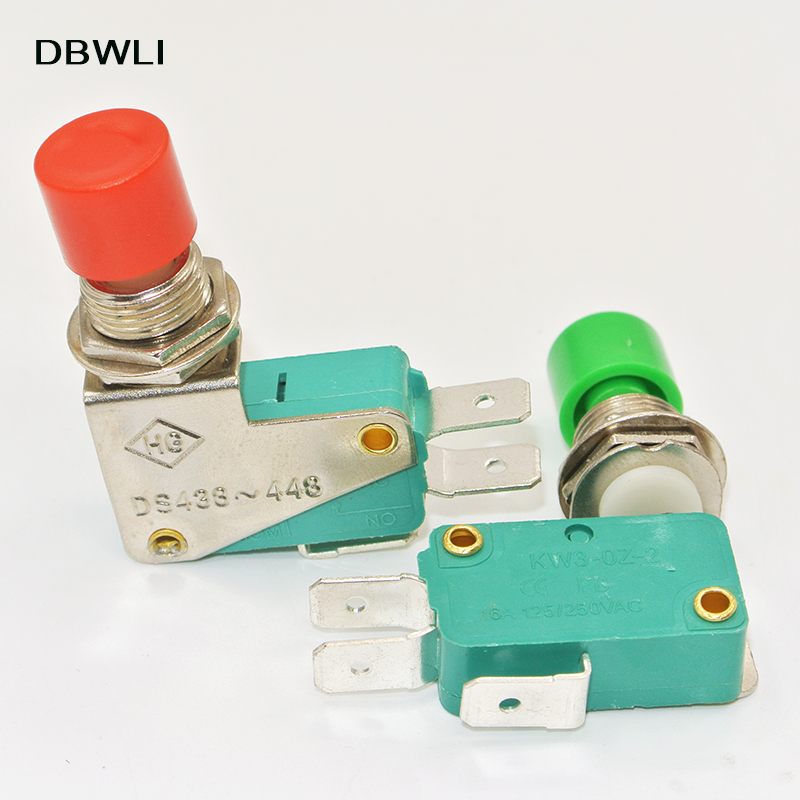2 Pcs DS438-448 Red Green SPDT Micro Push Button Switch 125//250V AC 16A