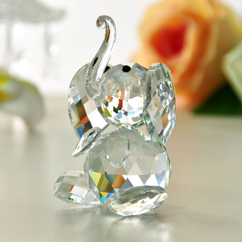 H & D Crystal Cute Elephant Figurka Collection Cięte szkło Ornament Statue Animal Collectible
