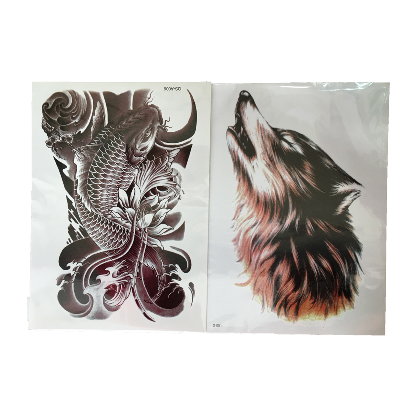 ⑧2 pcsblack peces Lobo Totem tatuaje temporal Adhesivos impermeable ...