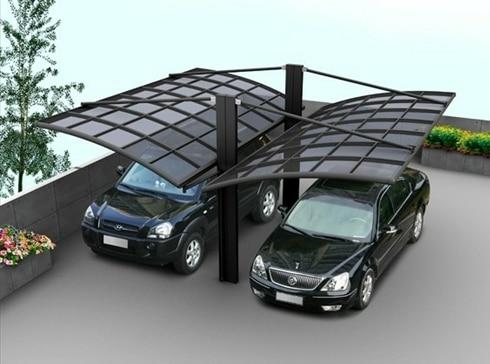 Al aire libre de aluminio cochera con techo de for Garajes con techos policarbonato