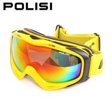 ПОЛИЗ профессиональные лыжные очки Поляризованные двойной слой линзы Анти-туман большой Сферных катание на лыжах очки мужчины женщины сноуборд очки