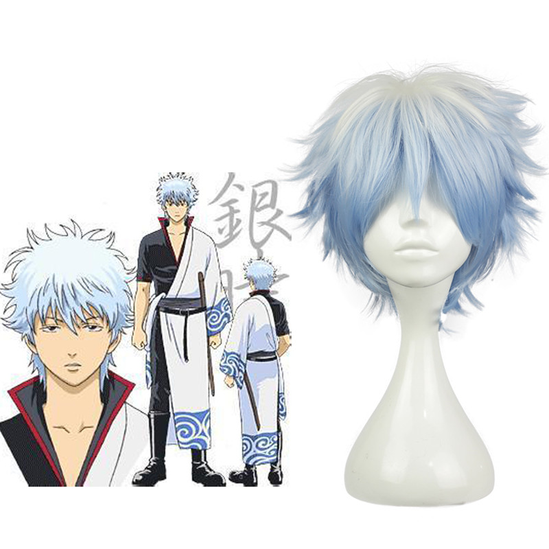Japanese Anime Gintama /Silver Soul sakata gintoki wig Gintoki light blue gradient cosplay wig with hair net Costumes ...