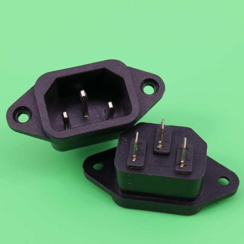 YuXi 1 Pcs 3P IEC 320 C14 Male Plug Panel Power Inlet Sockets Connectors AC 250V 10A ac 250v 10a 3 terminals male iec 320 c14 inlet power plug w fuse holder