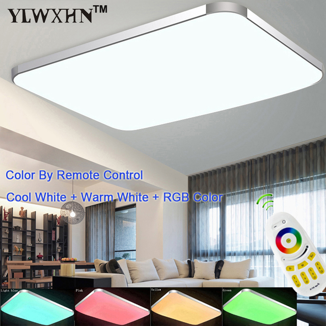 Luminaire Modern Remote Seven Colors Of The Spectrum Plate Ceiling Light Rgb+cool White+warm Smart Led Lamp / For Living Room