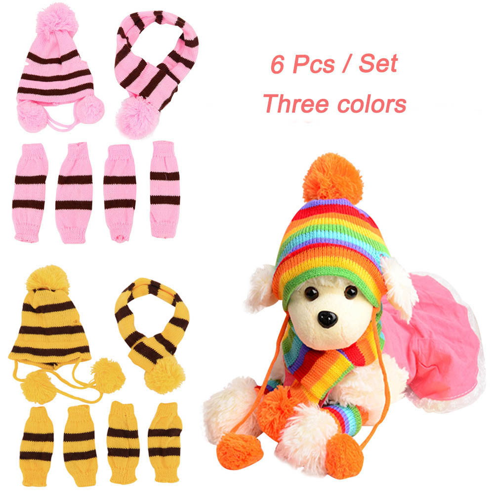 Pet Products Dog Accessories 1 Set Pets Pet Dog Puppy Pet Accessories Cats Hats Scarf Socks Warm