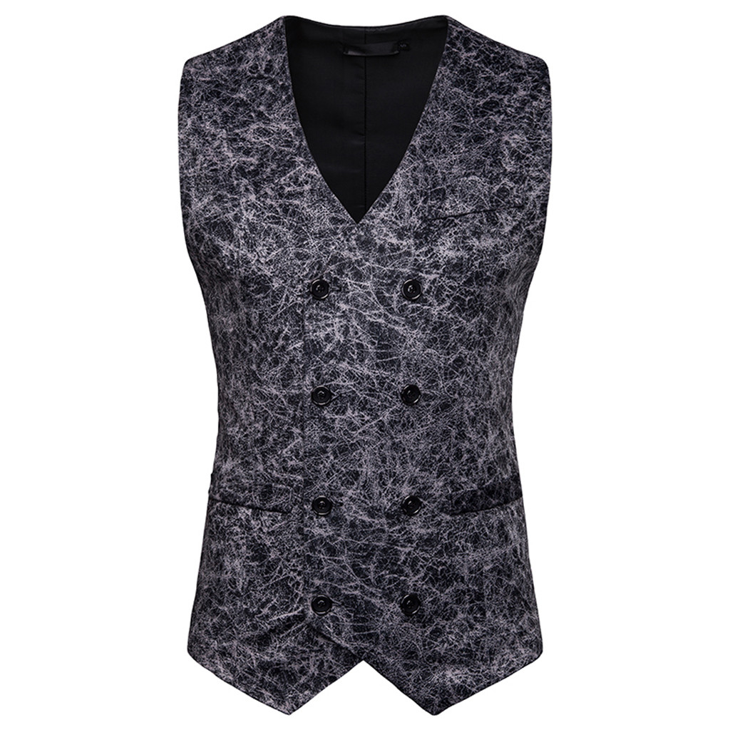 Vest Men Waistcoat Business Gold Casual New-Fashion for Plus-Size Tops Stamping Printing