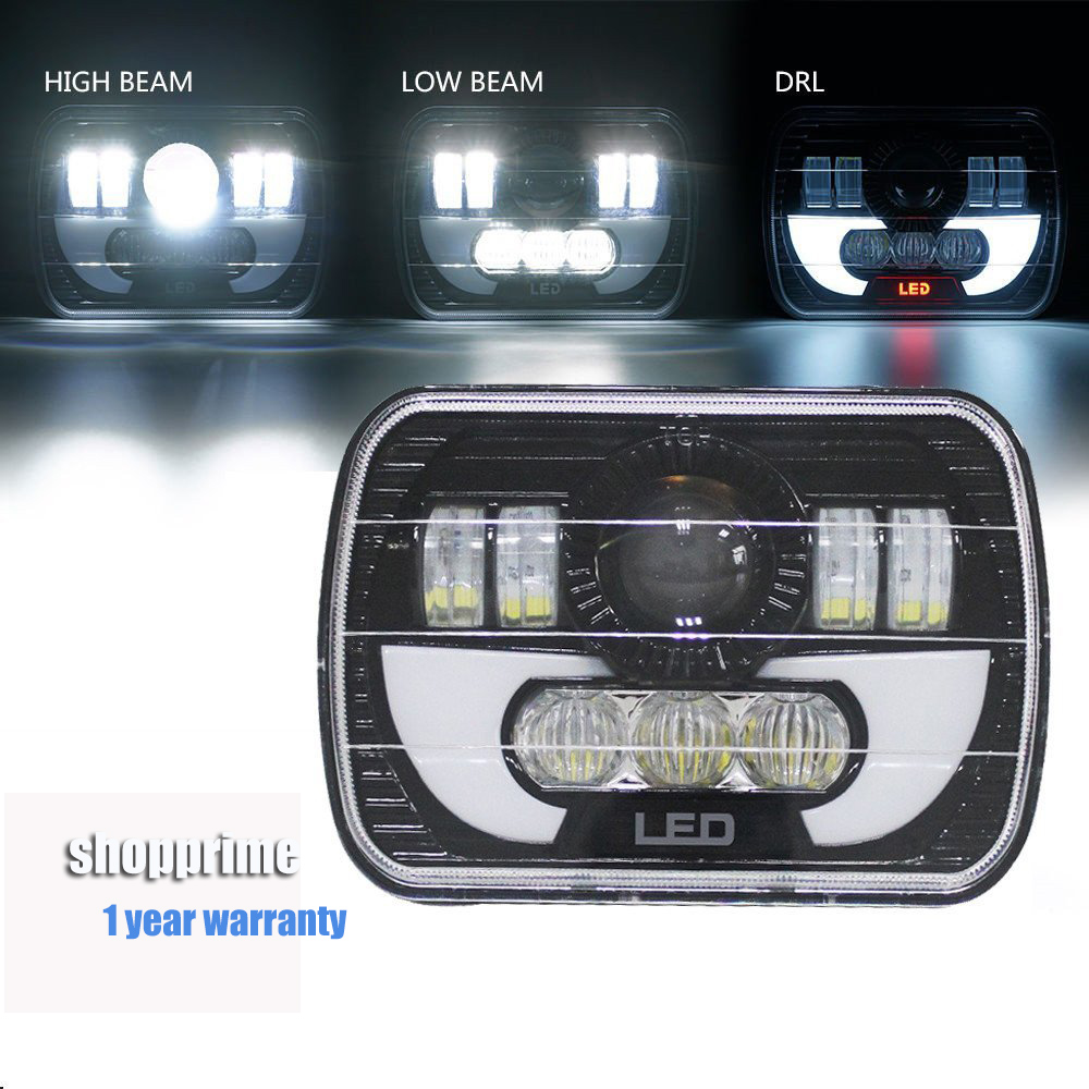 Pair 7X6 inch LED Headlights H4 Light For Jeep Wrangler YJ Cherokee Comanche 5x7 Led Square Headlights With DRL pair 7x6inch led headlights 27450c of