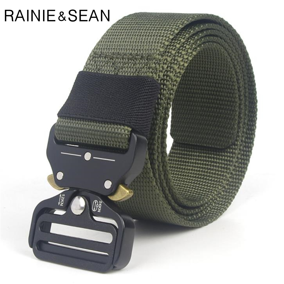 RAINIE SEAN Tactical Military Belt Canvas Nylon Army Belts For Men 3 8cm Adjustable Training Hunting Waist Belt Khaki Black Blue in Men 39 s Belts from Apparel Accessories