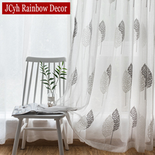 Modern Embroidered Tree Tulle Curtains For Living Room Window Sheer Bedroom Rideaux Voilage