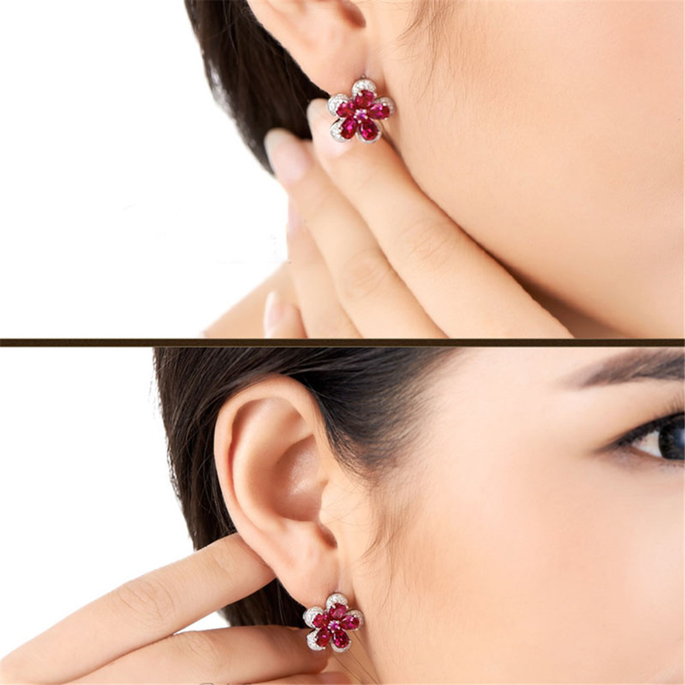 HTB1R28OXQ9E3KVjSZFGq6A19XXal PANSYSEN Luxury Flower Design Ruby Gemstone Clip Earrings for Women Solid 925 Sterling Silver Jewelry Wedding Christmas Gifts