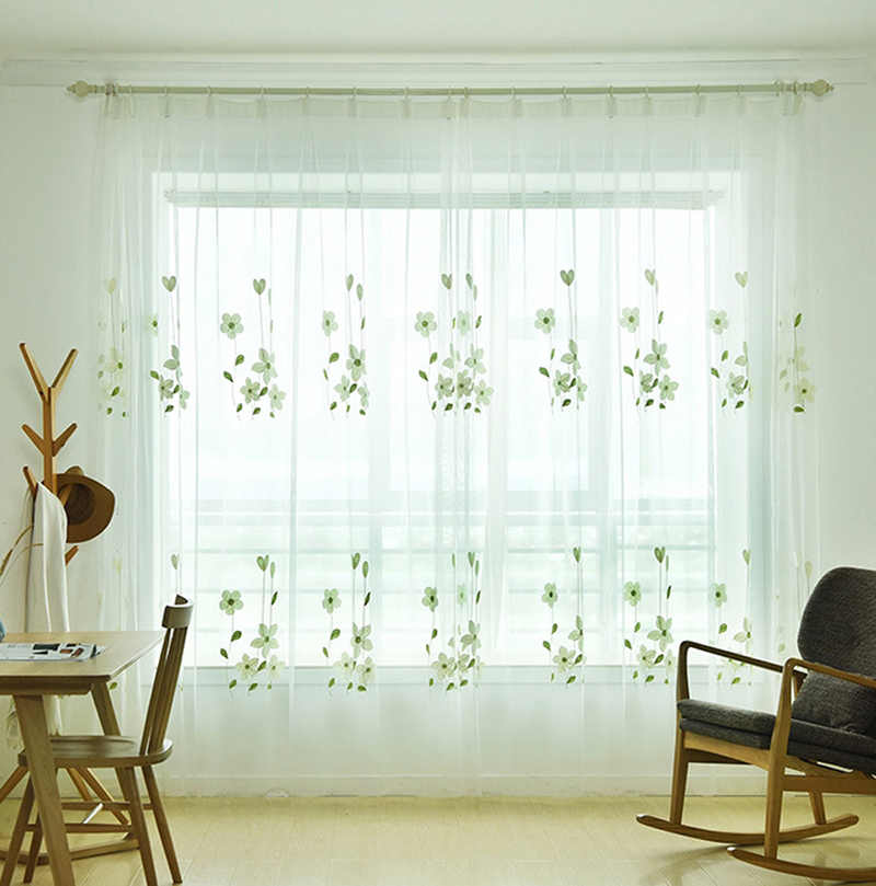 Rustc Curtain Tulle for Living Room Embroidered Green Floral Sheer Voile Draperies for Sliding Glass Door Window Decor WP152&2