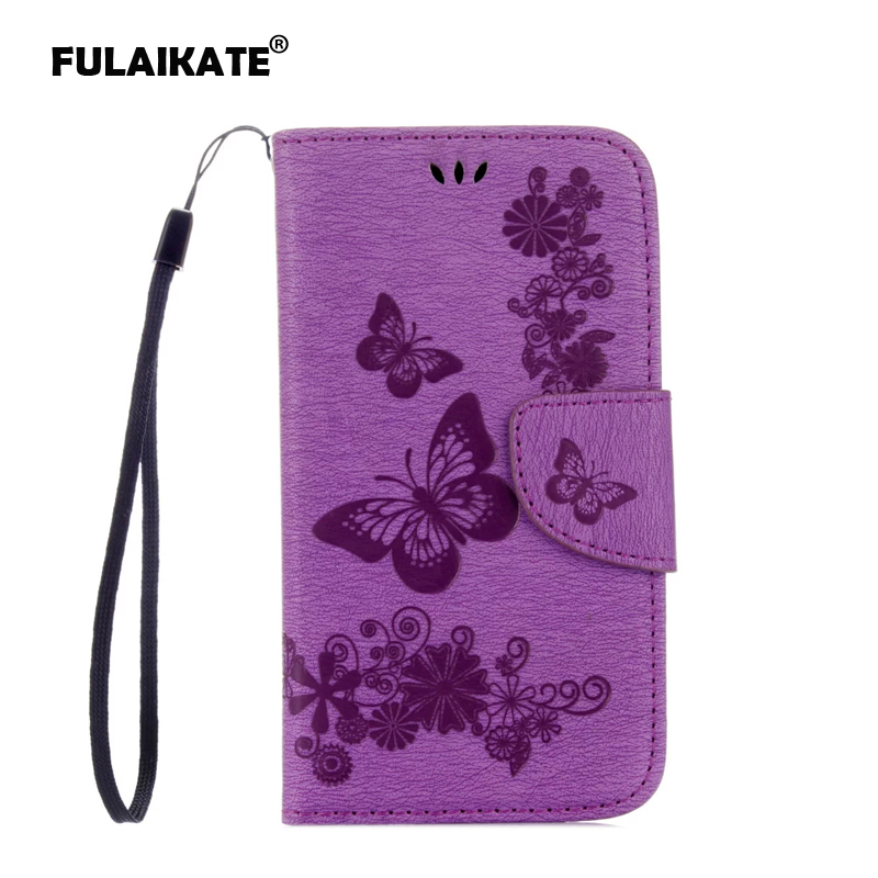 FULAIKATE For Samsung Galaxy S4 Flip Case Embossed Butterfly Back Cover Holster for Samsung S4 i9500 Phone Mt Protective Cases in Flip Cases from Cellphones Telecommunications